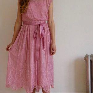 Vintage 70s Pink Cocktail Formal Dress Made in USA